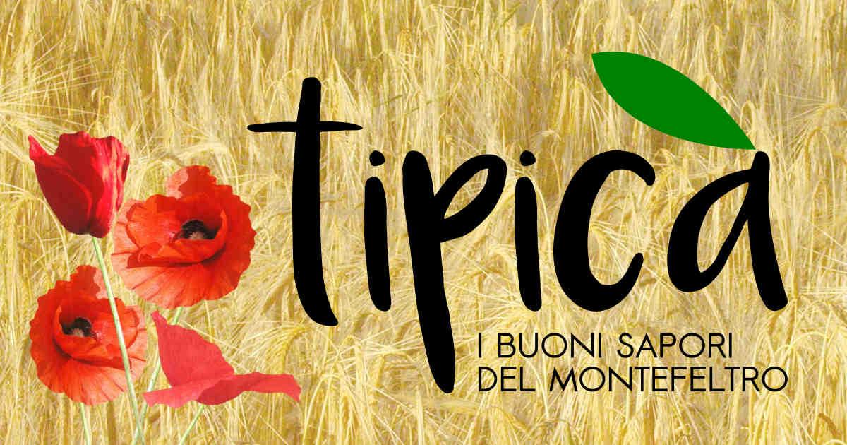 Campo di grano con papaveri e il logo Tipicà-I buoni sapori del Montefeltro